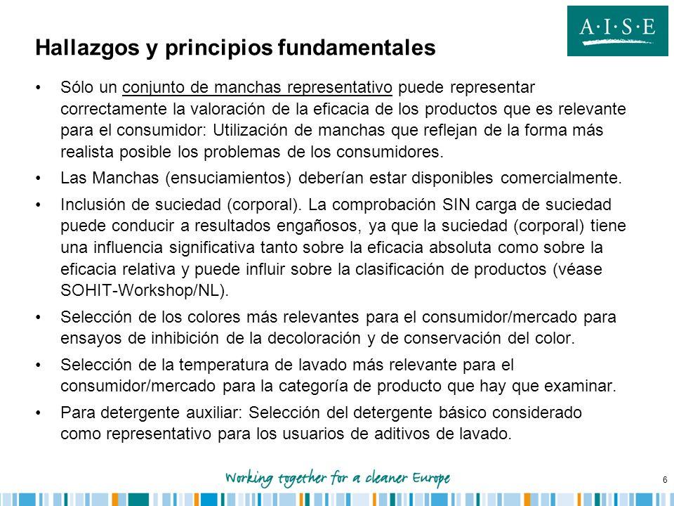 6 Hallazgos y principios fundamentales Sólo un conjunto de manchas representativo puede representar correctamente la valoración de la eficacia de los