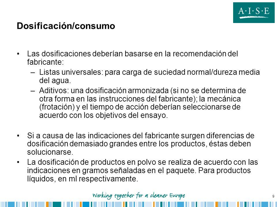 9 Dosificación/consumo Las dosificaciones deberían basarse en la recomendación del fabricante: –Listas universales: para carga de suciedad normal/dure
