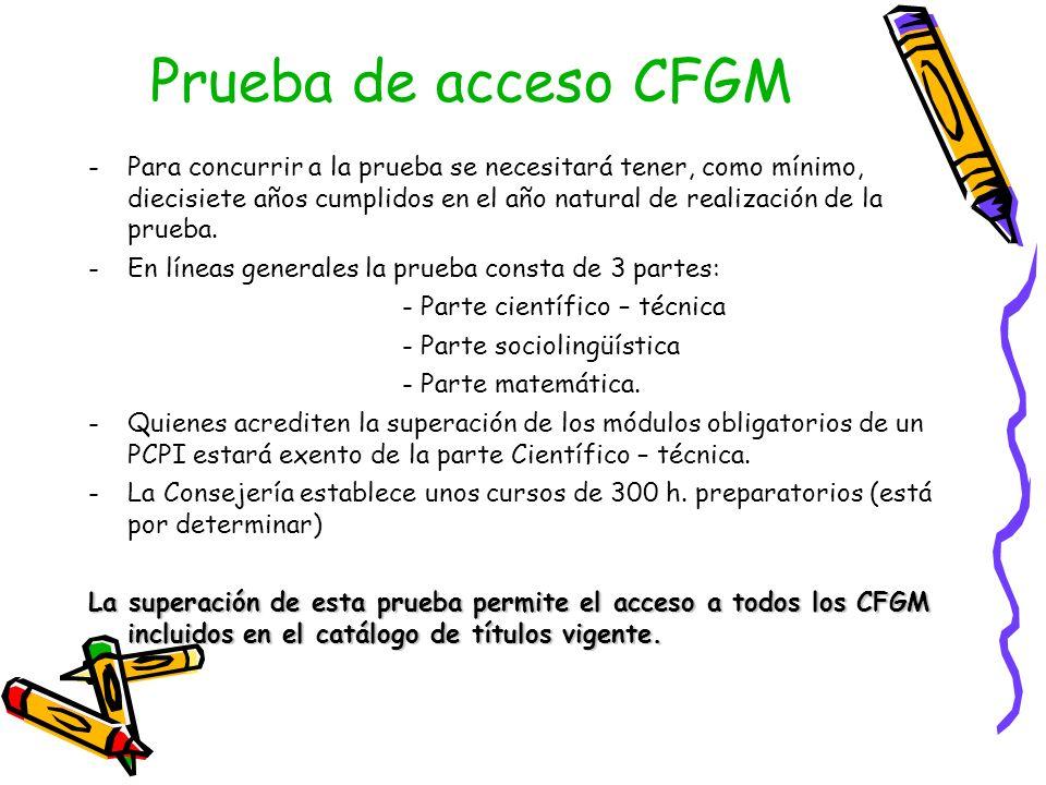 Prueba de acceso CFGM -Para concurrir a la prueba se necesitará tener, como mínimo, diecisiete años cumplidos en el año natural de realización de la prueba.