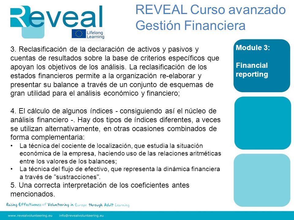 Module 3: Financial reporting 3. Reclasificación de la declaración de activos y pasivos y cuentas de resultados sobre la base de criterios específicos
