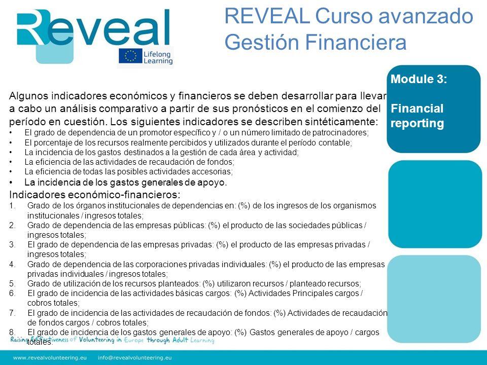 Module 3: Financial reporting Algunos indicadores económicos y financieros se deben desarrollar para llevar a cabo un análisis comparativo a partir de