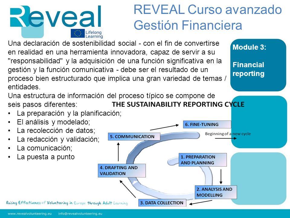 Module 3: Financial reporting REVEAL Curso avanzado Gestión Financiera Una declaración de sostenibilidad social - con el fin de convertirse en realida