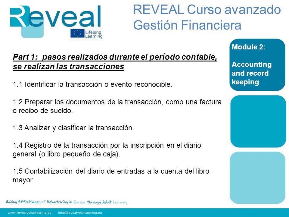 Module 2: Accounting and record keeping Part 1: pasos realizados durante el período contable, se realizan las transacciones 1.1 Identificar la transac