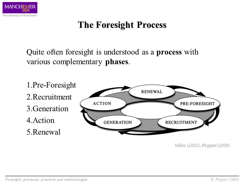 Foresight: processes, practices and methodologiesR. Popper (2008) The Foresight Process Quite often foresight is understood as a process with various