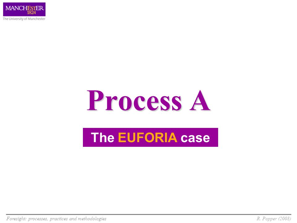 Foresight: processes, practices and methodologiesR. Popper (2008) Process A The EUFORIA case