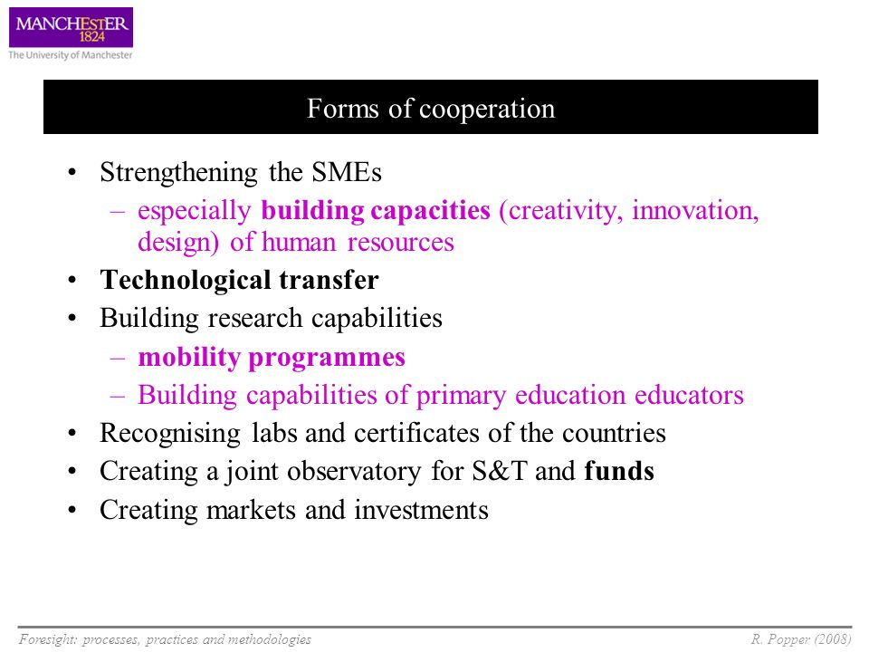 Foresight: processes, practices and methodologiesR. Popper (2008) Forms of cooperation Strengthening the SMEs –especially building capacities (creativ