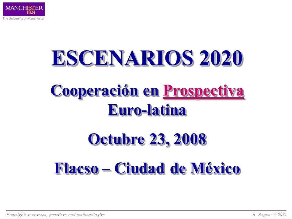 Foresight: processes, practices and methodologiesR. Popper (2008) ESCENARIOS 2020 Cooperación en Prospectiva Euro-latina Octubre 23, 2008 Flacso – Ciu