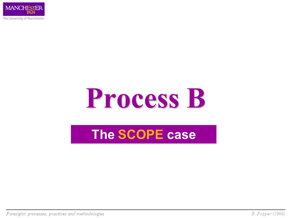 Foresight: processes, practices and methodologiesR. Popper (2008) Process B The SCOPE case