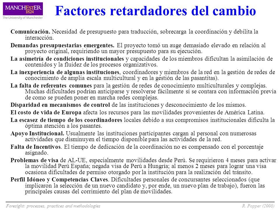 Foresight: processes, practices and methodologiesR. Popper (2008) Factores retardadores del cambio Comunicación. Necesidad de presupuesto para traducc
