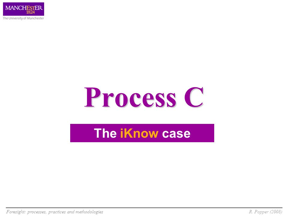 Foresight: processes, practices and methodologiesR. Popper (2008) Process C The iKnow case
