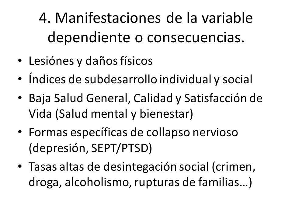 4. Manifestaciones de la variable dependiente o consecuencias. Lesiónes y daños físicos Índices de subdesarrollo individual y social Baja Salud Genera