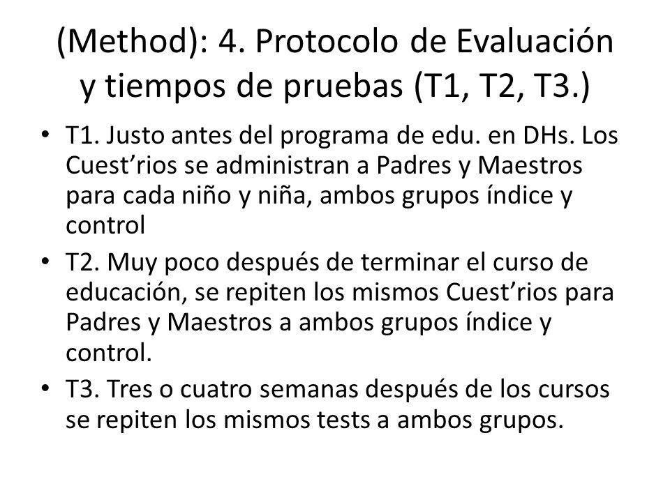 (Method): 4. Protocolo de Evaluación y tiempos de pruebas (T1, T2, T3.) T1. Justo antes del programa de edu. en DHs. Los Cuestrios se administran a Pa