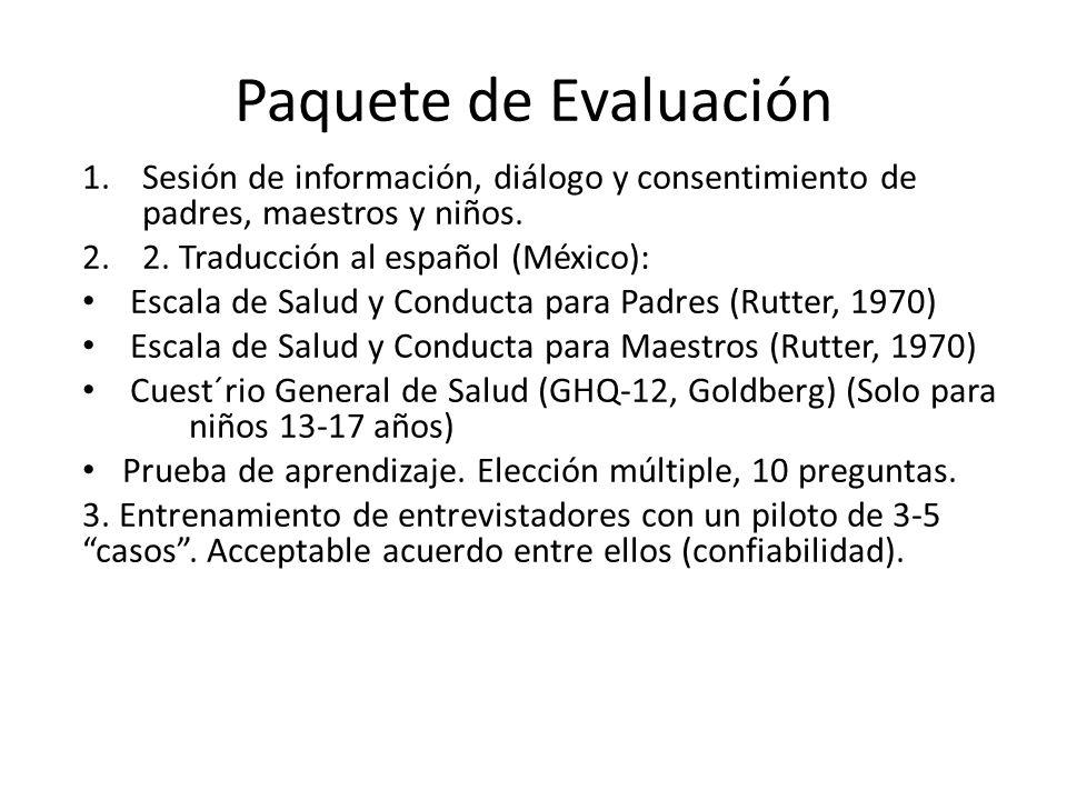 Paquete de Evaluación 1.Sesión de información, diálogo y consentimiento de padres, maestros y niños. 2.2. Traducción al español (México): Escala de Sa