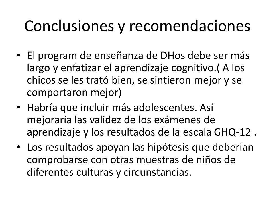 Conclusiones y recomendaciones El program de enseñanza de DHos debe ser más largo y enfatizar el aprendizaje cognitivo.( A los chicos se les trató bie