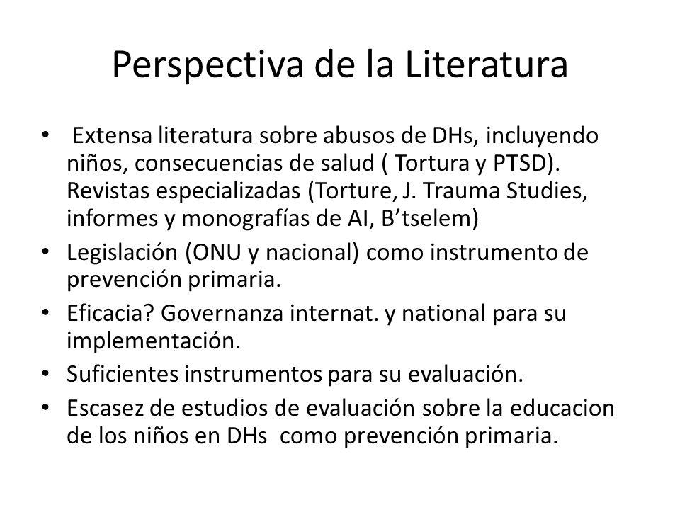 Perspectiva de la Literatura Extensa literatura sobre abusos de DHs, incluyendo niños, consecuencias de salud ( Tortura y PTSD). Revistas especializad