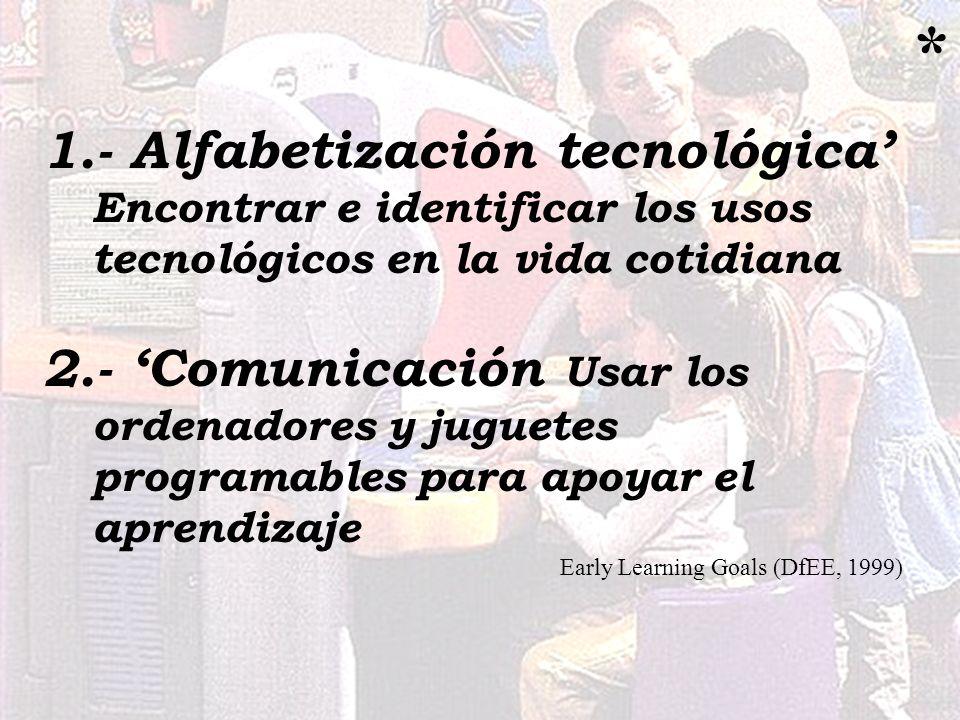 1.- Alfabetización tecnológica Encontrar e identificar los usos tecnológicos en la vida cotidiana 2.- Comunicación Usar los ordenadores y juguetes pro