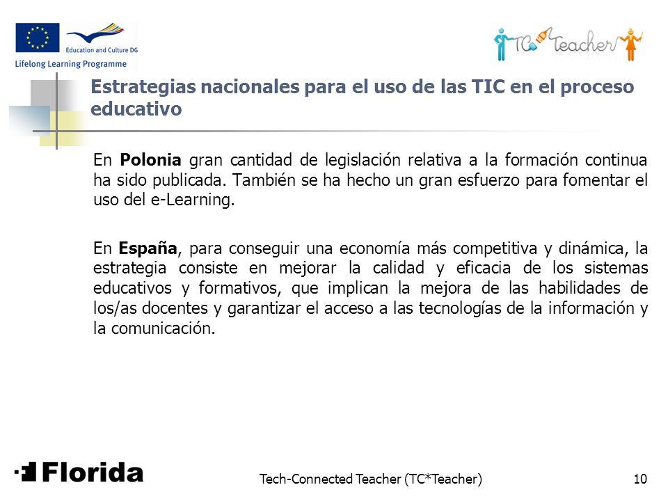 Tech-Connected Teacher (TC*Teacher)10 Estrategias nacionales para el uso de las TIC en el proceso educativo En Polonia gran cantidad de legislación re