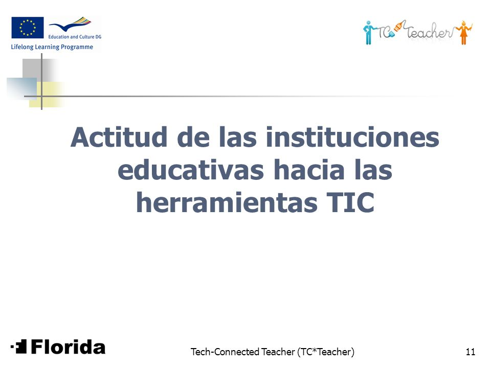 Tech-Connected Teacher (TC*Teacher)11 Actitud de las instituciones educativas hacia las herramientas TIC
