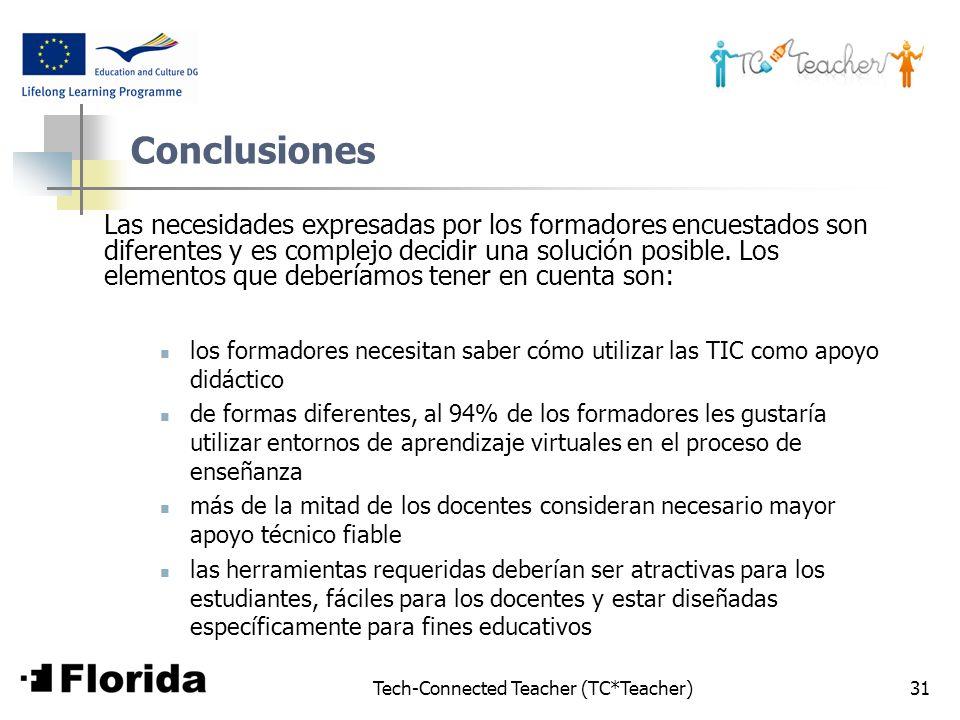 Tech-Connected Teacher (TC*Teacher)31 Conclusiones Las necesidades expresadas por los formadores encuestados son diferentes y es complejo decidir una