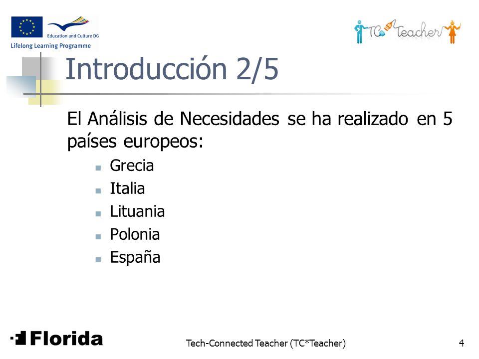 Tech-Connected Teacher (TC*Teacher)4 Introducción 2/5 El Análisis de Necesidades se ha realizado en 5 países europeos: Grecia Italia Lituania Polonia