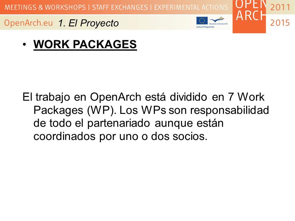 WORK PACKAGES El trabajo en OpenArch está dividido en 7 Work Packages (WP). Los WPs son responsabilidad de todo el partenariado aunque están coordinad