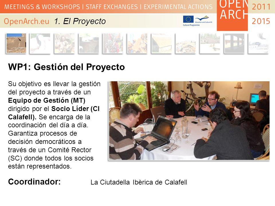1. El Proyecto WP1: Gestión del Proyecto Su objetivo es llevar la gestión del proyecto a través de un Equipo de Gestión (MT) dirigido por el Socio Líd