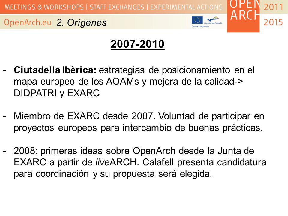 2. Orígenes 2007-2010 -Ciutadella Ibèrica: estrategias de posicionamiento en el mapa europeo de los AOAMs y mejora de la calidad-> DIDPATRI y EXARC -M
