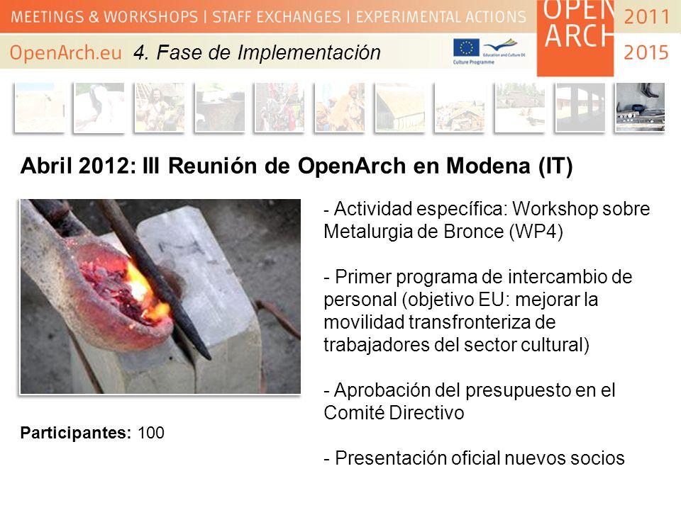 Abril 2012: III Reunión de OpenArch en Modena (IT) - Actividad específica: Workshop sobre Metalurgia de Bronce (WP4) - Primer programa de intercambio