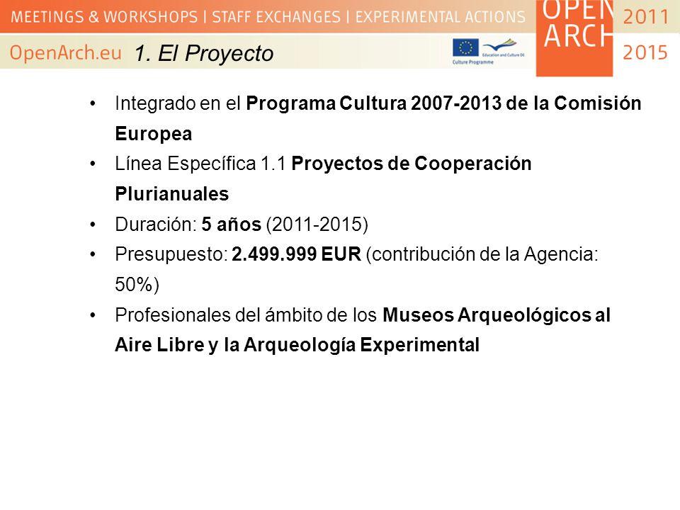1. El Proyecto Integrado en el Programa Cultura 2007-2013 de la Comisión Europea Línea Específica 1.1 Proyectos de Cooperación Plurianuales Duración: