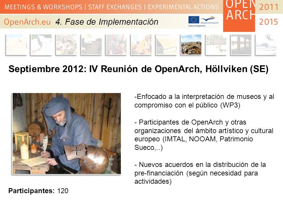 Septiembre 2012: IV Reunión de OpenArch, Höllviken (SE) -Enfocado a la interpretación de museos y al compromiso con el público (WP3) - Participantes d