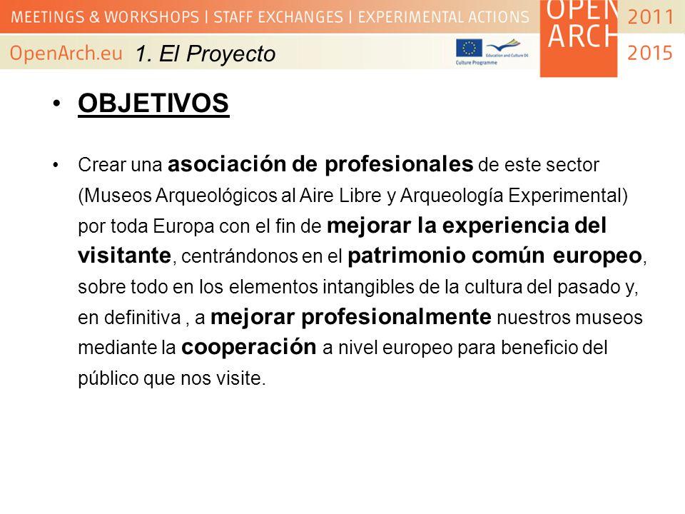 1. El Proyecto OBJETIVOS Crear una asociación de profesionales de este sector (Museos Arqueológicos al Aire Libre y Arqueología Experimental) por toda