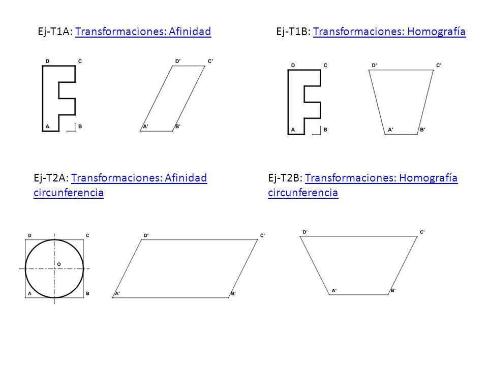 Ej-T1A: Transformaciones: AfinidadTransformaciones: AfinidadEj-T1B: Transformaciones: HomografíaTransformaciones: Homografía Ej-T2A: Transformaciones: