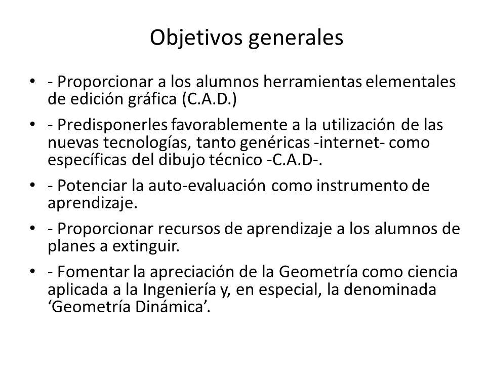 Objetivos generales - Proporcionar a los alumnos herramientas elementales de edición gráfica (C.A.D.) - Predisponerles favorablemente a la utilización