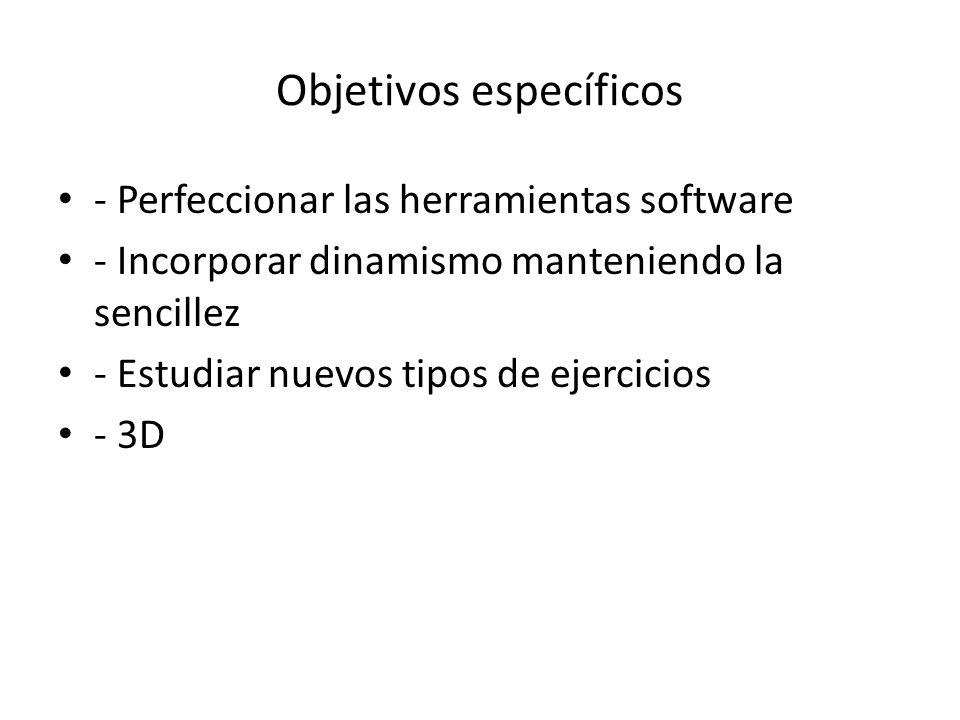 Objetivos específicos - Perfeccionar las herramientas software - Incorporar dinamismo manteniendo la sencillez - Estudiar nuevos tipos de ejercicios -