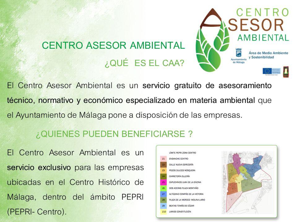 CENTRO ASESOR AMBIENTAL El Centro Asesor Ambiental es un servicio gratuito de asesoramiento técnico, normativo y económico especializado en materia am