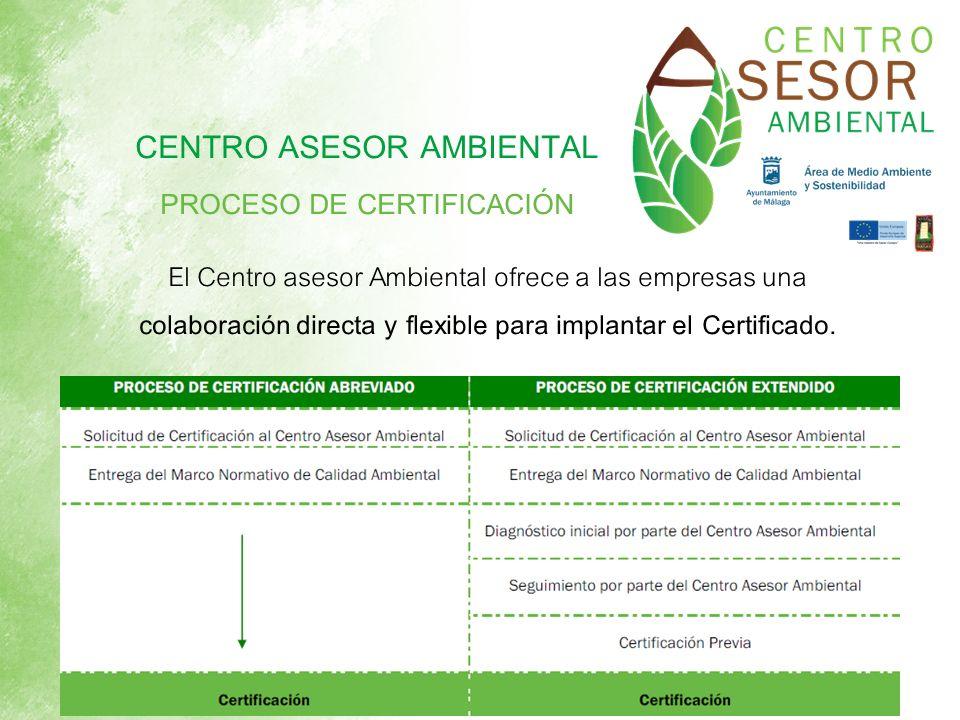 CENTRO ASESOR AMBIENTAL PROCESO DE CERTIFICACIÓN El Centro asesor Ambiental ofrece a las empresas una colaboración directa y flexible para implantar e