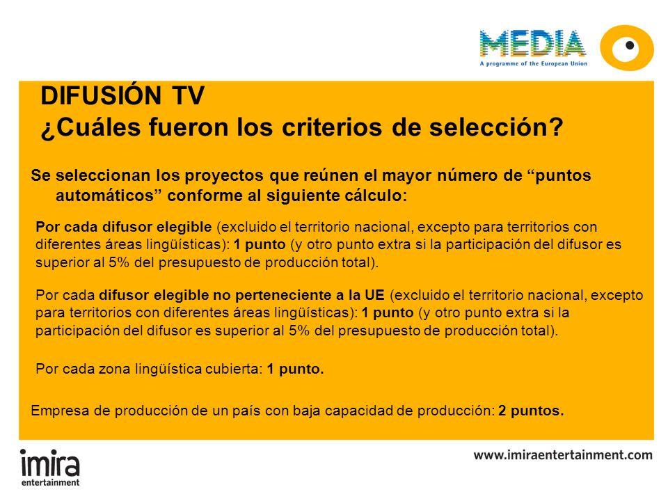 DIFUSIÓN TV ¿Cuáles fueron los criterios de selección? Se seleccionan los proyectos que reúnen el mayor número de puntos automáticos conforme al sigui