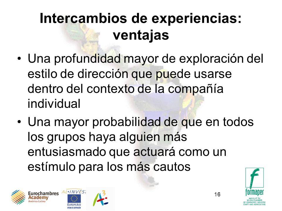 16 Intercambios de experiencias: ventajas Una profundidad mayor de exploración del estilo de dirección que puede usarse dentro del contexto de la comp