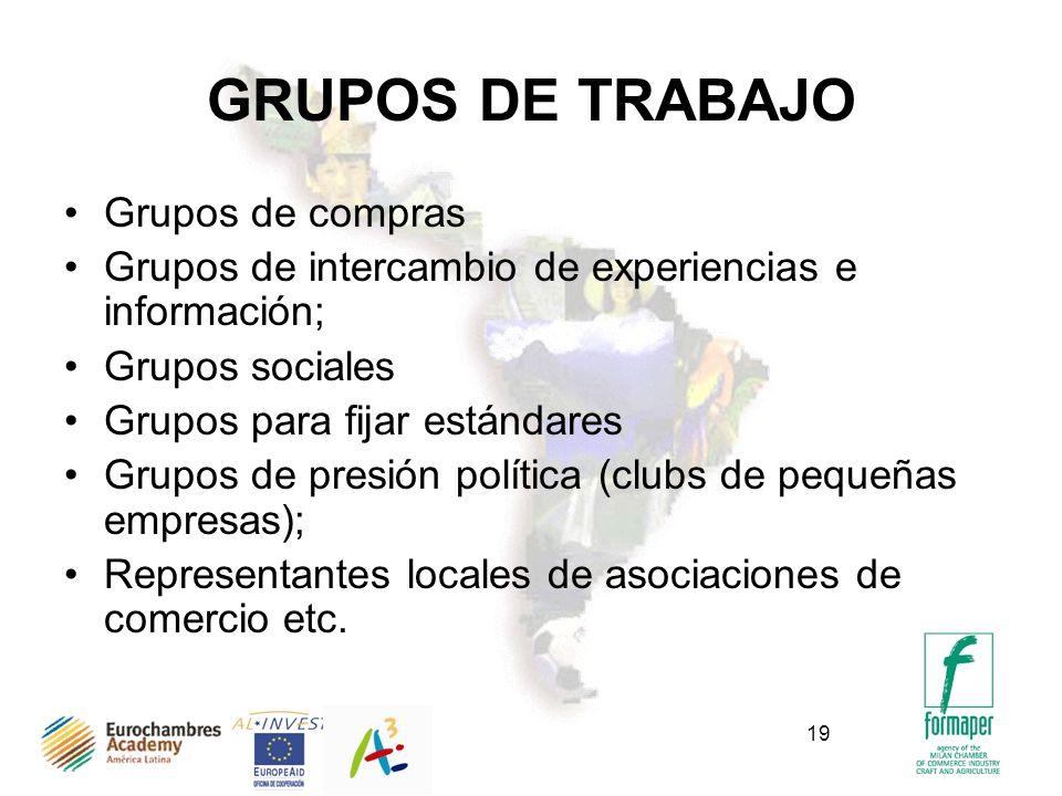 19 GRUPOS DE TRABAJO Grupos de compras Grupos de intercambio de experiencias e información; Grupos sociales Grupos para fijar estándares Grupos de pre