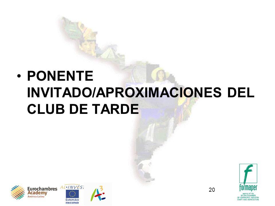 20 PONENTE INVITADO/APROXIMACIONES DEL CLUB DE TARDE