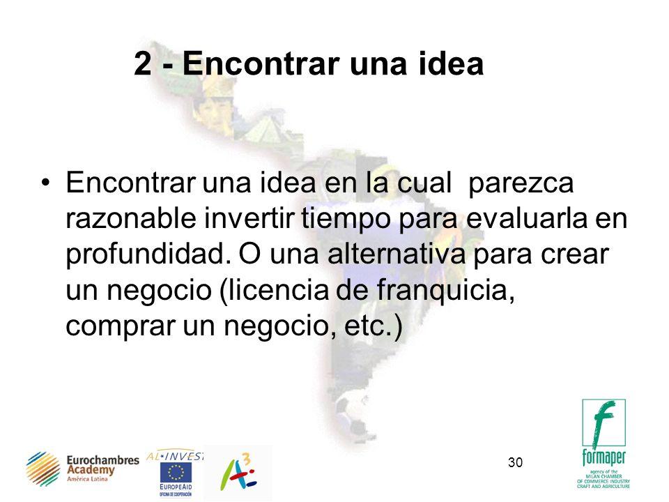 30 2 - Encontrar una idea Encontrar una idea en la cual parezca razonable invertir tiempo para evaluarla en profundidad. O una alternativa para crear
