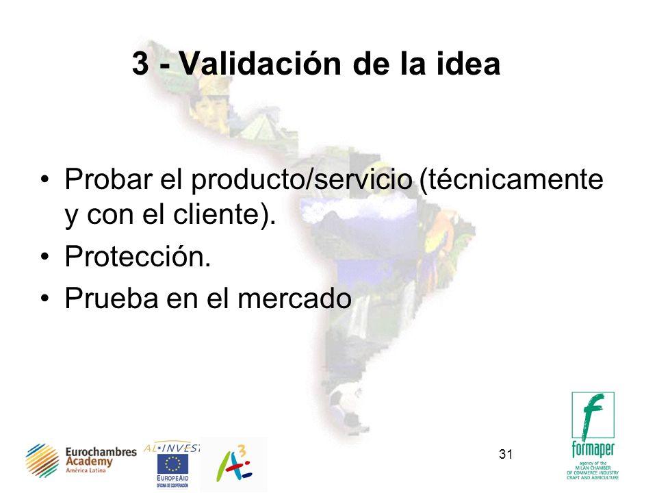 31 3 - Validación de la idea Probar el producto/servicio (técnicamente y con el cliente). Protección. Prueba en el mercado