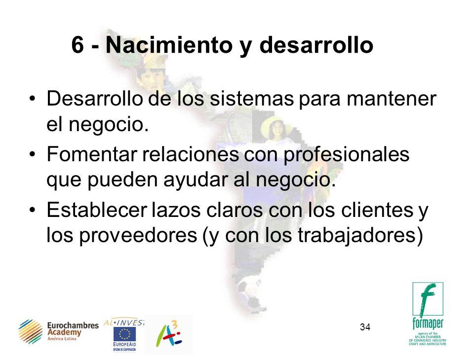 34 6 - Nacimiento y desarrollo Desarrollo de los sistemas para mantener el negocio. Fomentar relaciones con profesionales que pueden ayudar al negocio