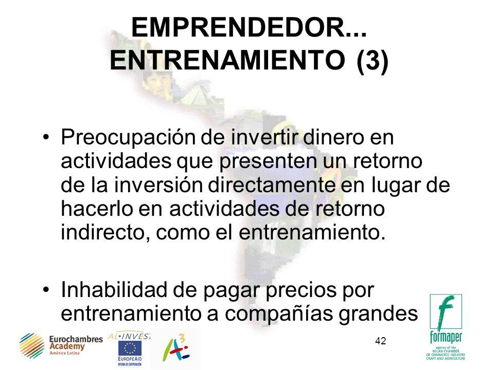42 EMPRENDEDOR... ENTRENAMIENTO (3) Preocupación de invertir dinero en actividades que presenten un retorno de la inversión directamente en lugar de h