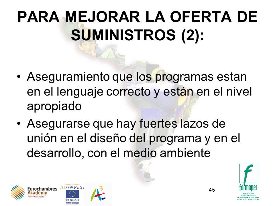 45 PARA MEJORAR LA OFERTA DE SUMINISTROS (2): Aseguramiento que los programas estan en el lenguaje correcto y están en el nivel apropiado Asegurarse q