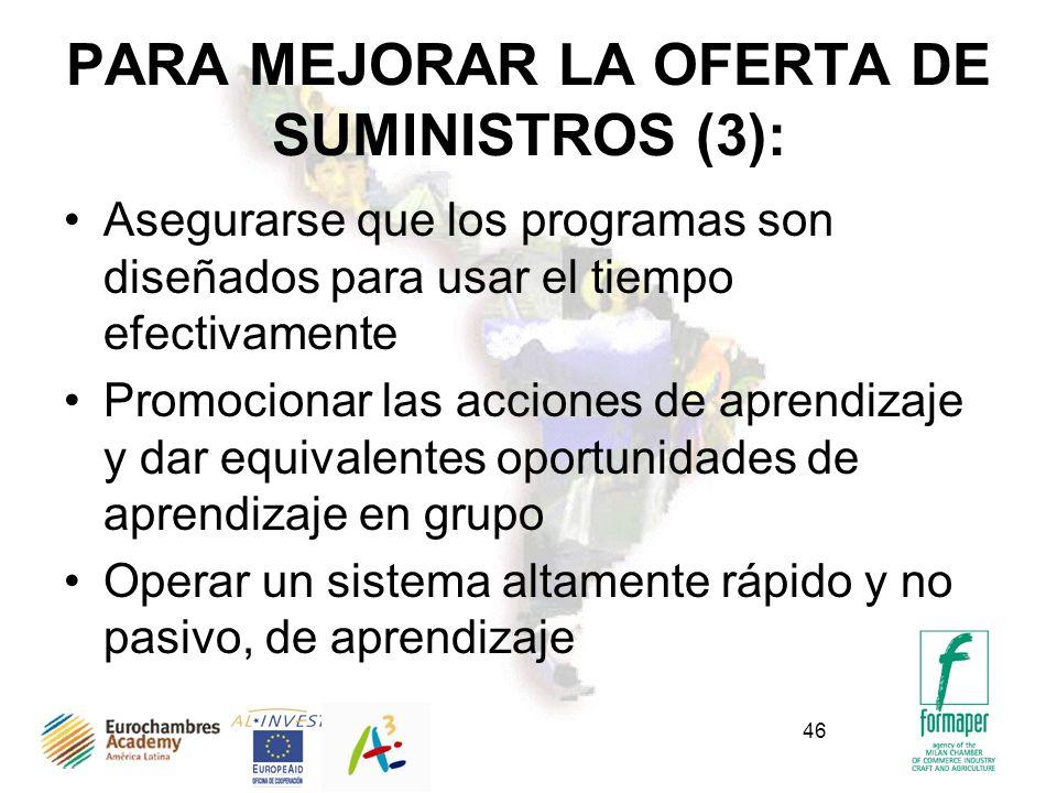 46 PARA MEJORAR LA OFERTA DE SUMINISTROS (3): Asegurarse que los programas son diseñados para usar el tiempo efectivamente Promocionar las acciones de