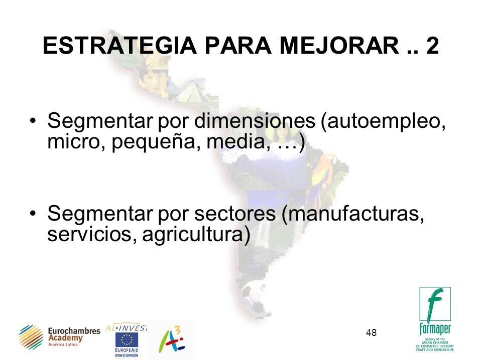 48 ESTRATEGIA PARA MEJORAR.. 2 Segmentar por dimensiones (autoempleo, micro, pequeña, media, …) Segmentar por sectores (manufacturas, servicios, agric