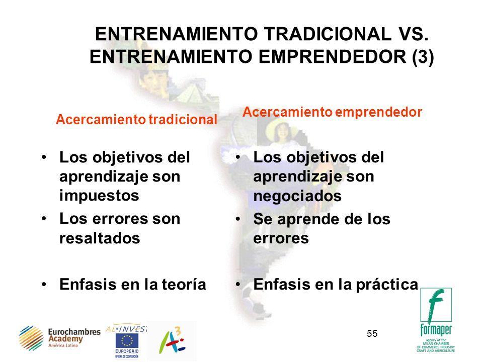 55 ENTRENAMIENTO TRADICIONAL VS. ENTRENAMIENTO EMPRENDEDOR (3) Acercamiento tradicional Los objetivos del aprendizaje son impuestos Los errores son re