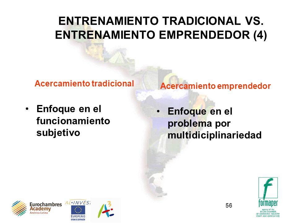 56 ENTRENAMIENTO TRADICIONAL VS. ENTRENAMIENTO EMPRENDEDOR (4) Acercamiento tradicional Enfoque en el funcionamiento subjetivo Acercamiento emprendedo