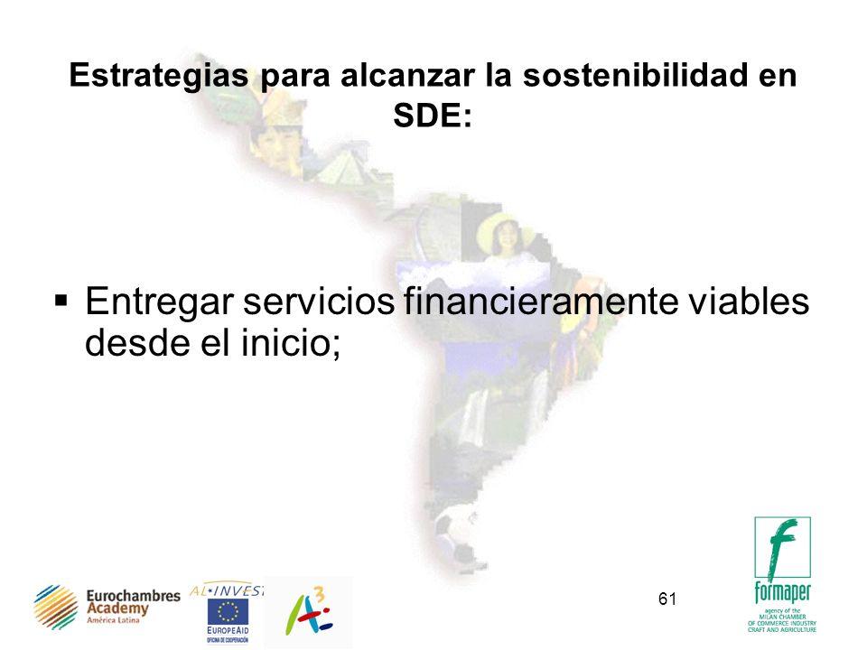 61 Estrategias para alcanzar la sostenibilidad en SDE: Entregar servicios financieramente viables desde el inicio;